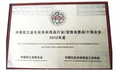 中国轻工业休闲礼仪用品行业十强企业